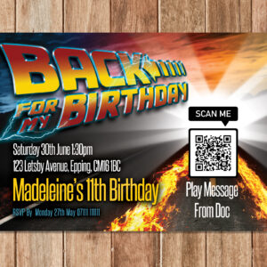 back to the future birthday invitations